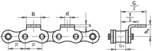 roller chain with bent attachment
