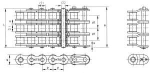 Triplex rollenketting volgens DIN 8187