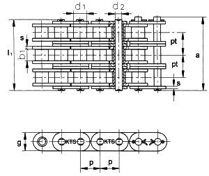 Rollenketting met rechte Zieplaten DIN8187