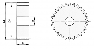 spur gear without hub module 2,5