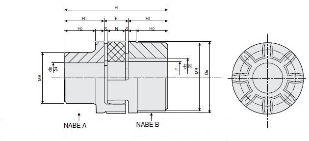 Elastische draaimomentkoppeling voor klembussen – Material GG25