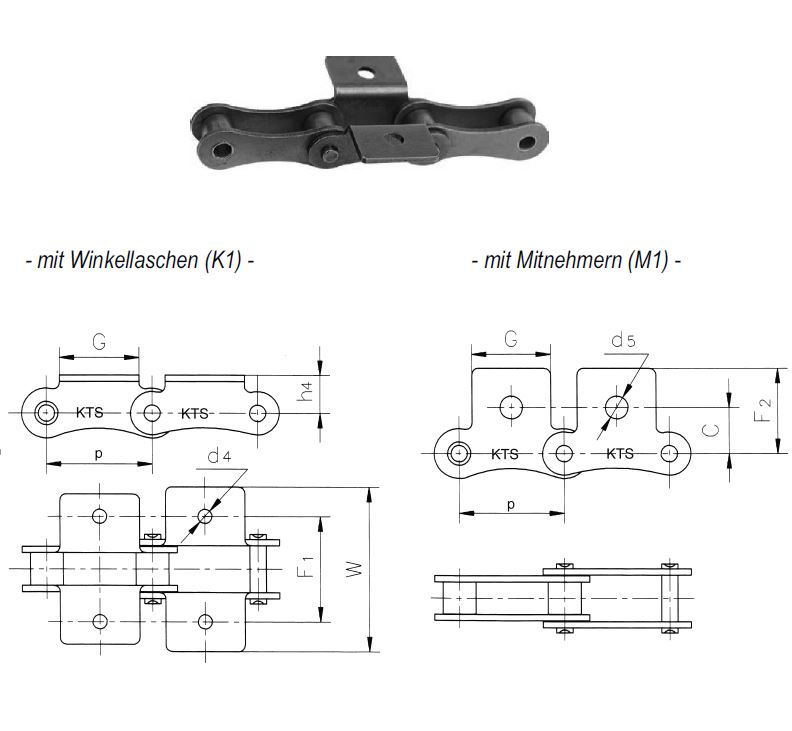 attachments for long-pitch roller chains