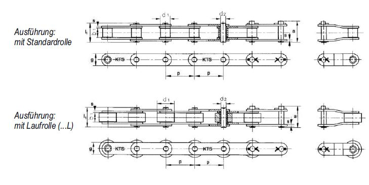 long-pitch roller chains with straight plates