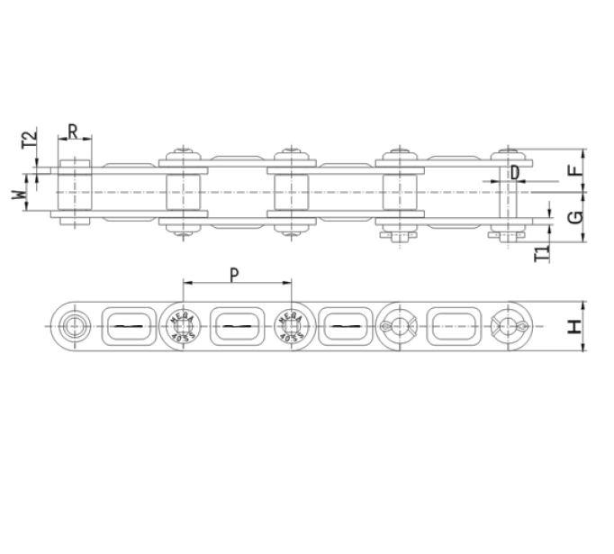roestvrije langesteek-rollenketting in extra versterkte uitvoering DOUBLE PITCH MEGA CHAIN