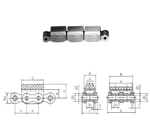 rollenketten mit aufvulkanisiertem gummiprofil